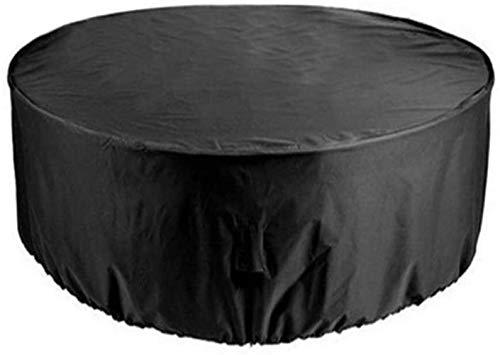 WJGJ Muebles de jardín Cubierta Cubierta Mesa Circular Jardín Mantel Impermeable y Transpirable 210D Oxford Tela al Aire Libre Muebles de terraza Cubierta Redonda, Negro, 185cmx110cm