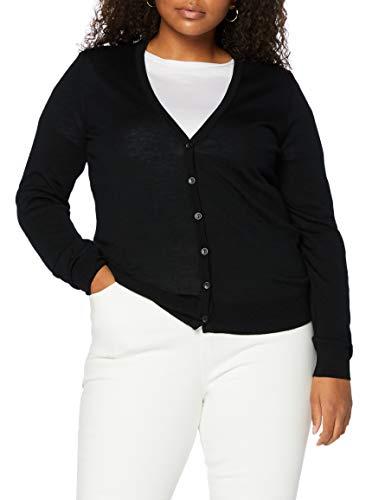 Marchio Amazon - MERAKI Cardigan Lana Merino Donna Scollo a V, Nero (Black), 40, Label: XS