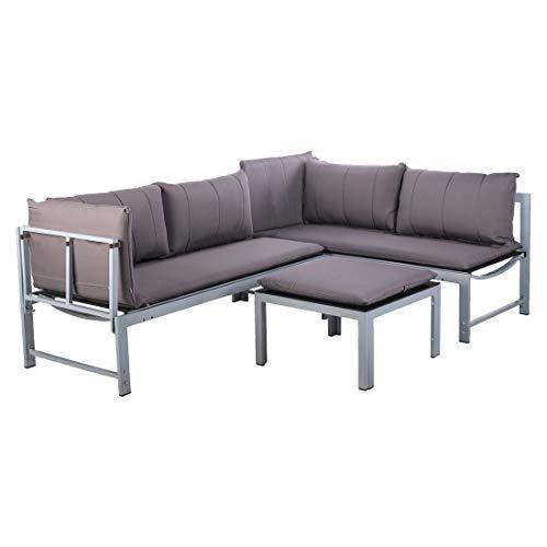 OUTLIV. Modulare Loungemöbel-Gruppe Aluminium/Spunpoly Sitzecke 3-teilig Silber/Grau Loungeecke Outdoor Gartenlounge Set