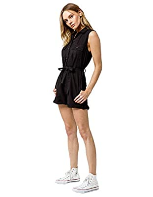 O'NEILL Women's Button Front Self Tie Woven Romper (Vintage Black, S)