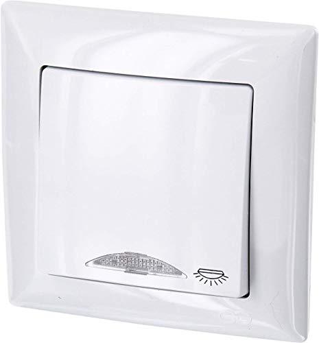 UP Taster mit Licht-Symbol + LED-Beleuchtung - All-in-One - Rahmen + Unterputz-Einsatz + Abdeckung (Serie G1 reinweiß)