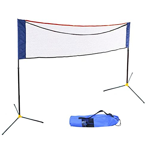 5m/16ft Foldable Height Adjustable Badminton Net Set Equipment with Poles Stand and Carry Bag for Kids Adult Outdoor Sports