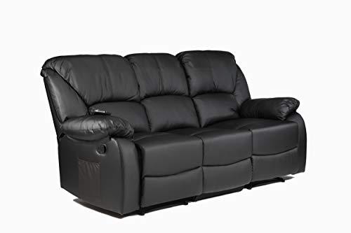 ECODE Sofa Canapé Tres Plazas Reclinable con Masaje por Ondulación Vibrante, Calor Lumbar, Polipiel ECO-8590/3 Negro