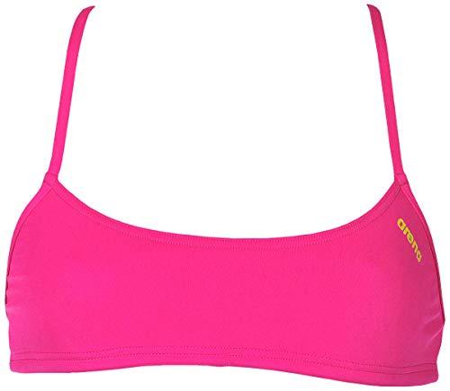 arena Damen Profi Trainings Bikinioberteil Bandeau Play (Schnelltrocknend, UV-Schutz UPF 50+, Chlorresistent), Fresia Rose-Yellow Star (903), M