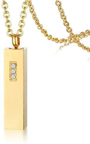 NC122 Collar con Colgante Cadena de Perfume Minimalista de Acero Inoxidable con Diamantes de imitación Oro Joyería de Mujer-Oro