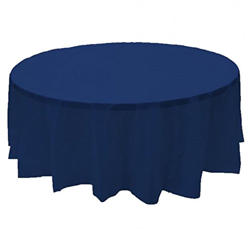 """6 PACK, 84"""" Navy Blue Round Plastic Table Cover, Economy Table Cloth Reusable"""