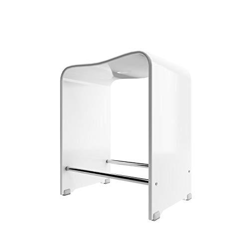 Schulte Duschhocker aus Acryl, belastbar bis 130 kg, 47 cm hoch, alpinweiß, rutschfest, stabil, ergonomisch, komfortabel