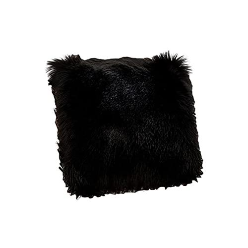 Anwangda Funda de cojín de felpa suave y cuadrada, funda de almohada cuadrada, fundas de cojín decorativas para sofá, cama, banco (negro, tamaño: 50 x 50 cm)