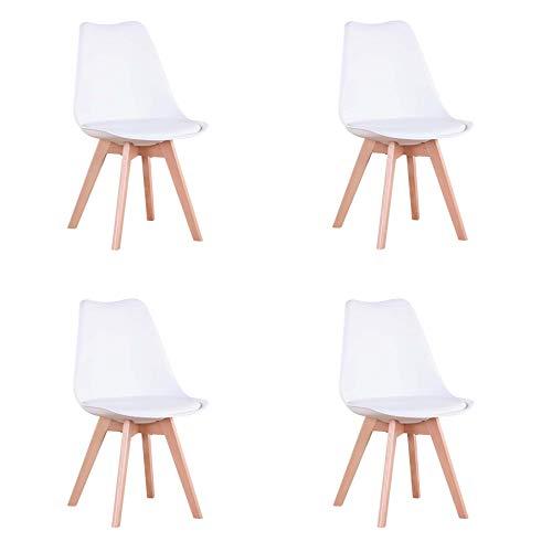 N / A GrandCA Home 4er Set Stühle, Esszimmerstuhl, Tulpenstuhl im nordischen Stil, geeignet für Wohnzimmer, Esszimmer(Weiß)