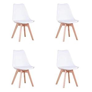 N / A Conjunto de 4 sillas, Silla de Comedor, Silla de tulipán de Estilo nórdico, Adecuada para Sala de Estar, Comedor (Blanco)