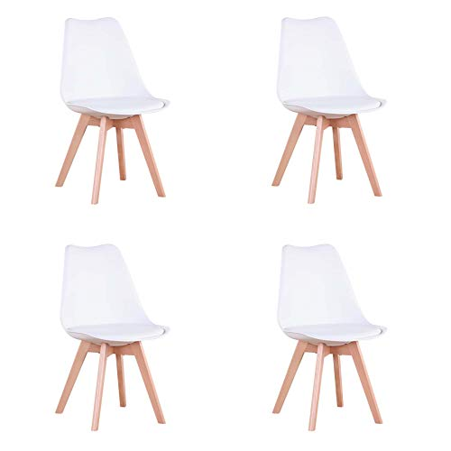 EGOONM Set di 4 Sedie, Sedia da Pranzo in Stile Nordico, Sedia con Gambe in Faggio, Adatta per Cucina, Ufficio(Bianco)