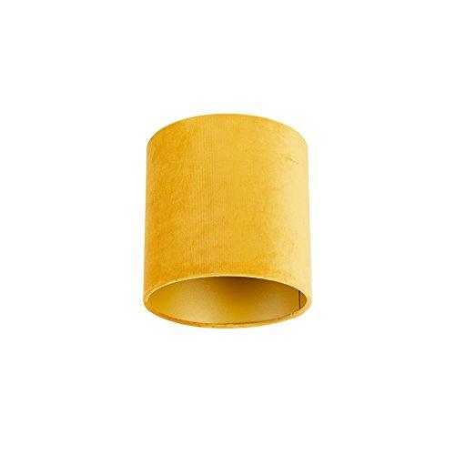 QAZQA Moderne Coton Abat-jour en velours jaune 20/20/20 avec intérieur doré, Rond/Cylindrique Abat-jour Suspendu,Abat-jour Lampadaire