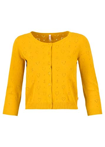 Blutsgeschwister Damen Strickjacke - Cardigan Roundneck Short, Farbe:Gelb, Größe:XXL