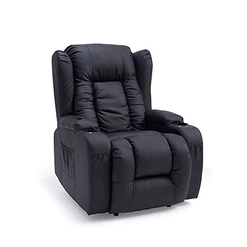 8 Point Massage Leather Recliner Lounge Chair, Zero Gravity Ergonomic Living Room Snuggling Sofa, Swivel Gliding PU Recliner with Lumbar Heated Remote Control Fit for Theater Feeding Baby (Black)