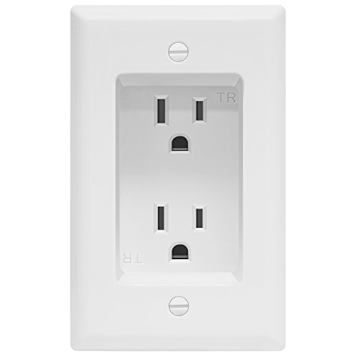 "TOPGREENER Recessed Duplex Receptacle Outlet, Tamper-Resistant, Size 1-Gang 4.48"" x 2.76"", 15A 125V, TG15RD31, White"