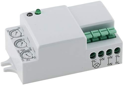 ChiliTec Mini Einbau Bewegungsmelder 360° HF Hochfrequenz Sensor LED geeignet 5-1200 Watt für Wand- und Deckenleuchten