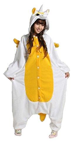 Pyjama Cosplay Karnevals Kostüme für Erwachsene Halloween Fest Party Tier Onesie Body Nachtwäsche Kleid Overall Animal Sleepwear Erwachsene Kigurumi Zoo Cosplay - Small - Unicorn Giallo