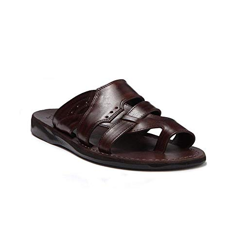 Jerusalem Sandals Mens Aron Brown, Durable Handcrafted Real Leather Sandals, Slide Sandals for Men with Open Toe with Toe Loop, Strappy Vamp Details, Textured Sole, Waterproof, Size 10 US