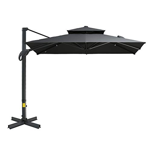 Outsunny 10' x 10' Rotating Outdoor Patio Cantilever Umbrella with Double-Tier Canopy & 4 Adjustable Tilt Angles, Grey