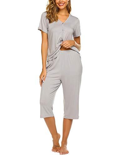 Ekouaer Women's Cotton Pajamas Set Short Sleeve Button-Down Pj Set Sleepwear Nightwear Two Piece Pj Sets(Light Grey,Medium)