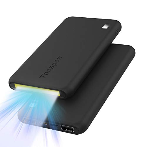 Portable Charger 10000mAh With Bright Flashlight Thine Power Banks Quick Charge Phones (Black 10000mAh )