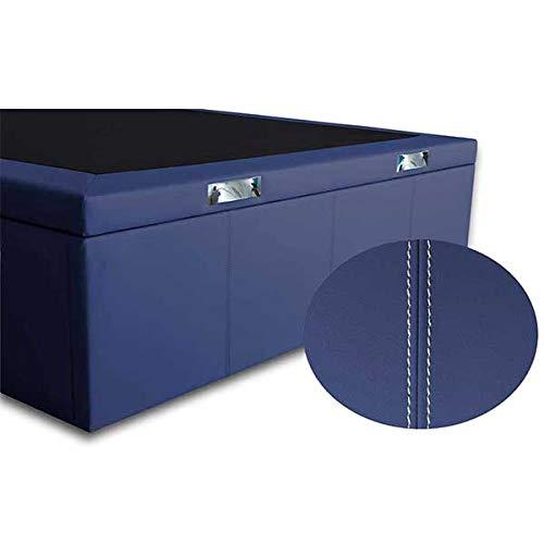 Ventadecolchones - Canapé Abatible Lisboa Gran Capacidad Tapizado en Polipiel Azul Marino con Costuras Blancas Medidas 150cm x 200 cm