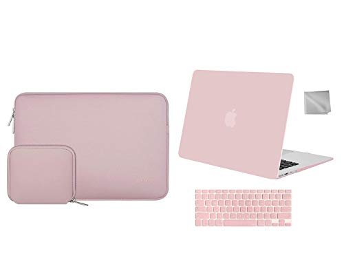 MOSISO Plastic Hard Shell Case & Laptop Neoprene Sleeve & Keyboard Cover Skin & Wipe Cleaning Cloth, Compatible with MacBook Air 13 inch Case Older Version 2010-2017 Release A1369 A1466, Rose Quartz