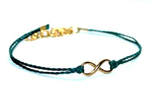 Special SALE - Vergoldetes Mini Infinity Handmade Freundschafts Wachsarmband, petrol, 16-17cm
