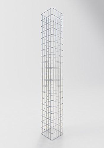 GABIONA befüllbare Steinkörbe Säulen Gabione eckig I Drahtkörbe für Steine zur Gartengestaltung Maschenw. 5x10cm I 4mm Gabionenkörbe galvanisch verzink I Steinkorb Säule 200cm hoch 27 x 27 cm