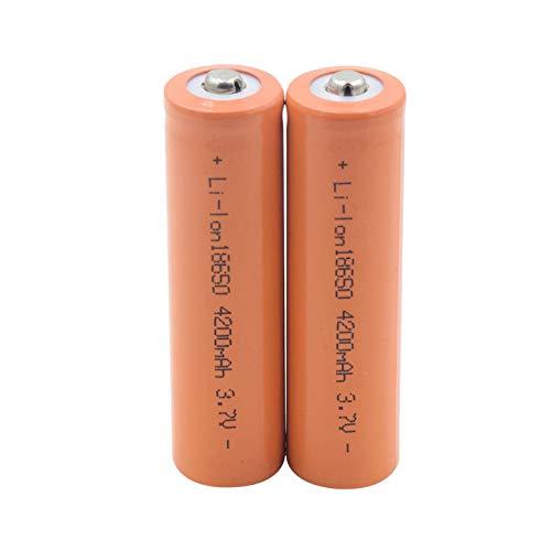 TTCPUYSA Batería De ión De Litio De 3.7v 4200mah 18650, Recargable para El MicróFono del Banco del Poder del Faro De La Linterna 2pieces