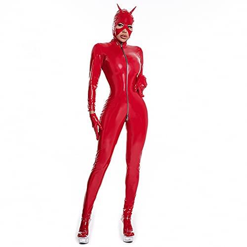 YTdoo Mono Sexy De Látex para Mujer, Mameluco Imitación Cuero, Disfraz Erótico De Mujer, Lencería De PU, Ropa para Discoteca De Talla Grande,Rojo,S