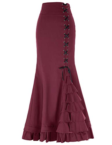 Belle Poque Victorian Steampunk Maxi Skirt for Women Long Skirt Size M Wine Red