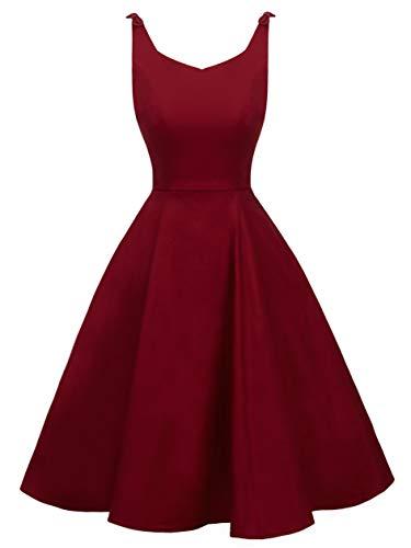 Juniors 50s Vintage V-Neck Rockabilly U-Back Swing Party Dress with Bows on Shoulder(M, Burgundy)