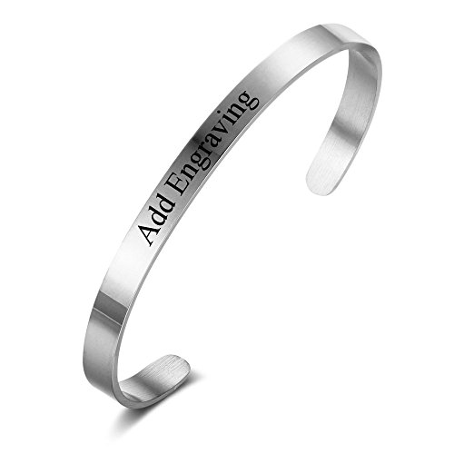 Personalisiert Mütter Tag Armband Entfernung Armbänder Zum Paare Silber Manschette Armbänder Schwester Graviert Name Armreifen Benutzerdefiniert Männer Damen Jelwelry LGift 316L Edelstahl Stahl 5 mm