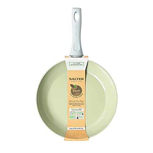 Salter BW09278 Earth Forged Aluminium Fry Pan, Non-Stick, Soft-Touch Handle, 28 cm, Green