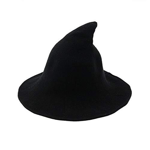 Nowakk Halloween personnalité Chapeau de sorcière Diversifier Bonnet de Laine de Mouton Tricot Chapeau de pêche Mode Femmes sorcières Seau Pointu - Noir