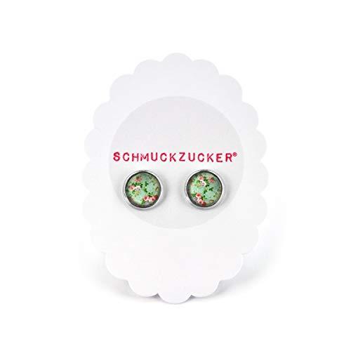 """süße Ohrstecker """"Vintage Garden"""" von SCHMUCKZUCKER kleine Ohrringe Blumen Muster 12mm (vintage mint) - 6"""