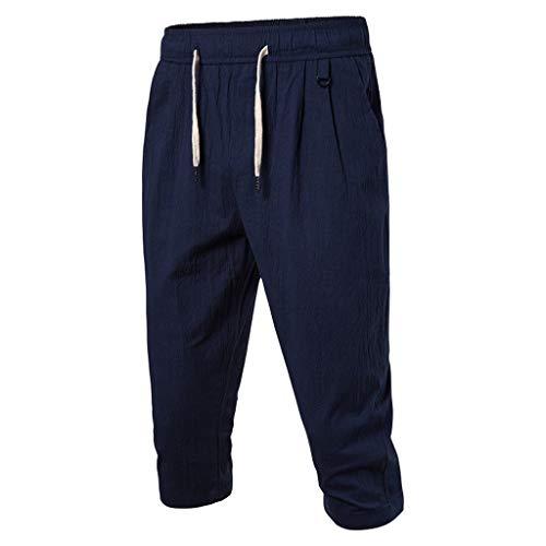 GreatestPAK Herren Taschen 3/4 Jogginghose Sommer Einfarbig Strand Elastische Taille Klassische Passform Shorts Hosen Baumwolle Leinen Freizeithose