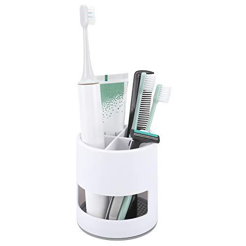 Maqqet Zahnbürstenhalter für elektrische Zahnbürsten, Kunststoff, Zahnbürsten-Organizer, Zahnpasta-Halter, Badezimmer-Aufbewahrung, Organizer mit vier Fächern und Abtropfschale