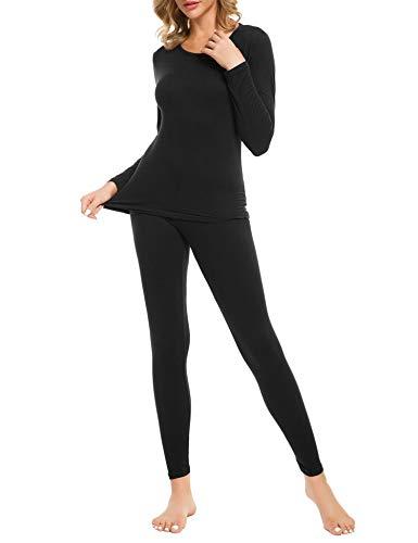 iWoo - Biancheria intima termica da donna, con pantaloni sottili, a maniche lunghe, con strato di base termico, taglia 4XL, colore: Nero