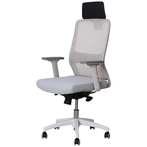Bürostuhl Einfacher Büro-Hausstuhl Ergonomischer Mesh-Computerstuhl mit Verstellbarer Kopfstütze-Lendenstütze Armlehne High-Rücken-Drehstuhl Grey