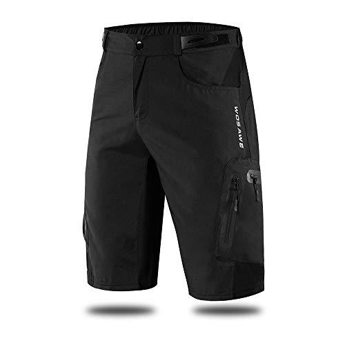 WOSAWE Pantalones Cortos de Ciclismo, Hombres Pantalones Sueltos Transpirables para Bicicletas, MTB, Running, Fitness, Deportes al Aire Libre (BL132 Negro XL)