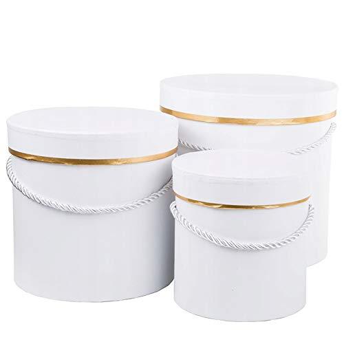 3er Set runde Blumenboxen mit Kordel, Aufbewahrungsbox mit Deckel, unifarbene Hutschachtel, Geschenkboxen, personalisierbar, Rosenbox, Geschenkkartons, Geschenkbox (Weiß mit Gold)