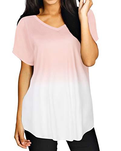 ZANZEA Damen Kurzarm V-Ausschnitt T-Shirt Asymmetrisch Blusen Bunte Oversize Oberteil Tops 06-rosa XX-Large