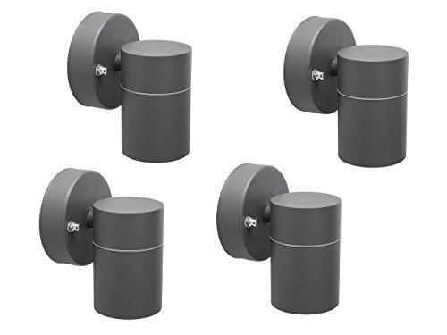 4er-Set Downlight Außenwandleuchten IP44, inkl. 3W LED 230 Lumen, GU10-Sockel, Fassadenbeleuchtung