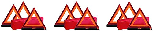 Deflecto Early Warning Road Safety Reflective Triangle Kit, Folding Design, Fluorescent Orange, Plastic, with Storage Box, (73-0711-00) (3 X Pack of 3)