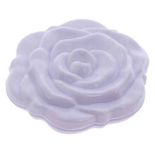 LASISZ Make Up Miroir Portable Double Face Make Up Mirror Mini Rose Flower Compact Girls Pocket Mirror Unique Gift, White