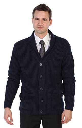 Gioberti Men's Shawl Collar Knitted Regular Fit Cardigan with Faux Suede Elbow Patch, Navy, X-Large