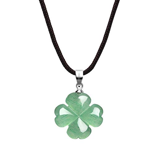 Hong Yi Fei-shop Colgantes de Piedra de Natural Collar Trébol de Cuatro Hojas Collar Dongling Jade Lucky joyería Cuerda Longitud 16 / 18inch Collares (tamaño : 45cm)