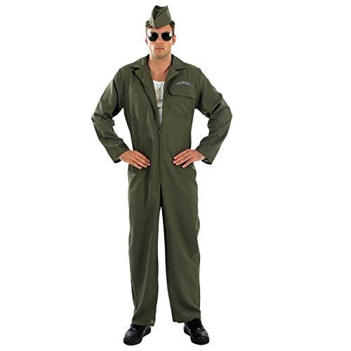 Mens Aviator Costume Adults Military Pilot Green Flightsuit Outift - Medium